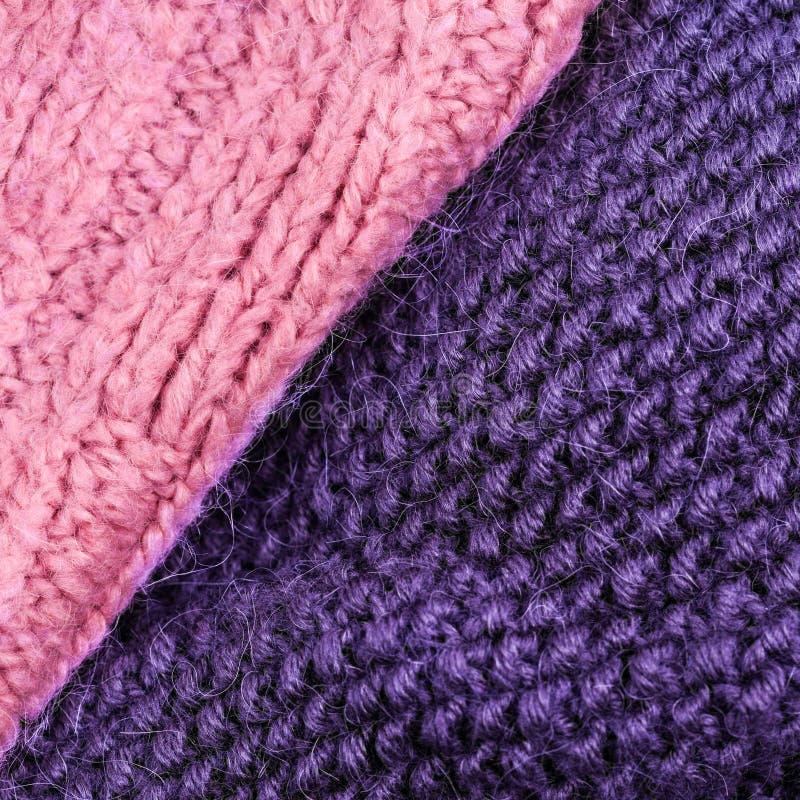 编织羊毛纹理背景的冬天 五颜六色的被编织的hor 库存照片