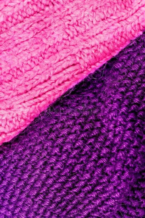 编织羊毛纹理背景的冬天 五颜六色的被编织的hor 免版税库存照片