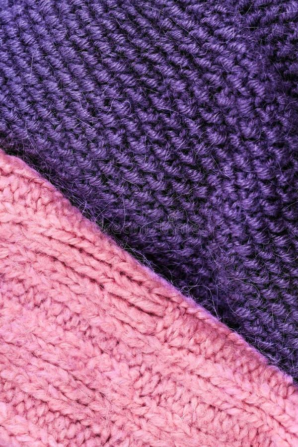 编织羊毛纹理背景的冬天 五颜六色的被编织的hor 免版税图库摄影