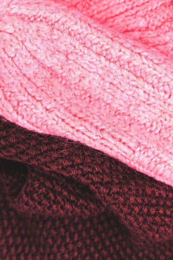 编织羊毛纹理背景的冬天 五颜六色的被编织的hori 库存照片