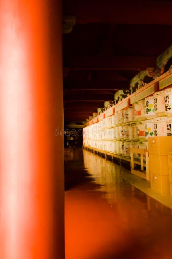 缘故走廊缘故滚磨等待节日在日本晒干 免版税图库摄影