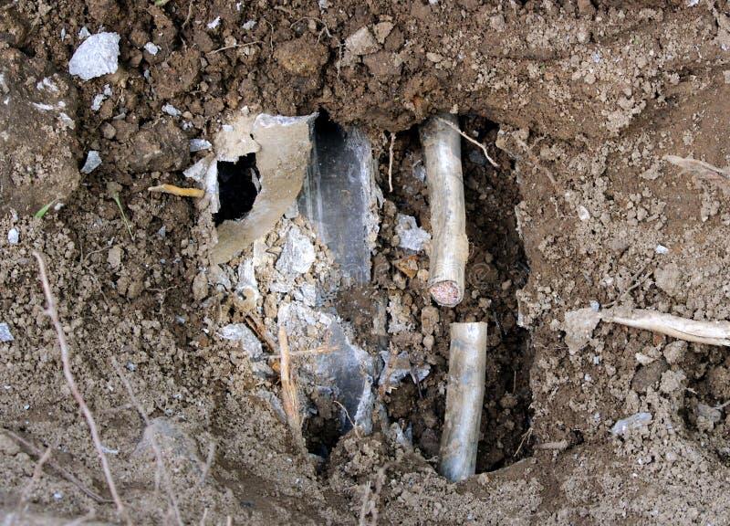 缚住与的收藏家事故在地面下 库存图片