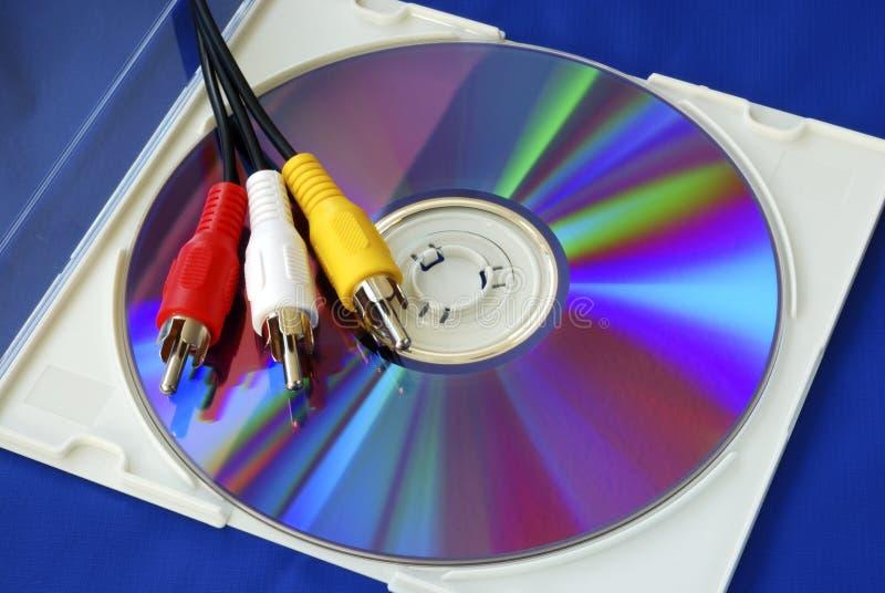 缚住CD的颜色rca三录影 免版税库存图片