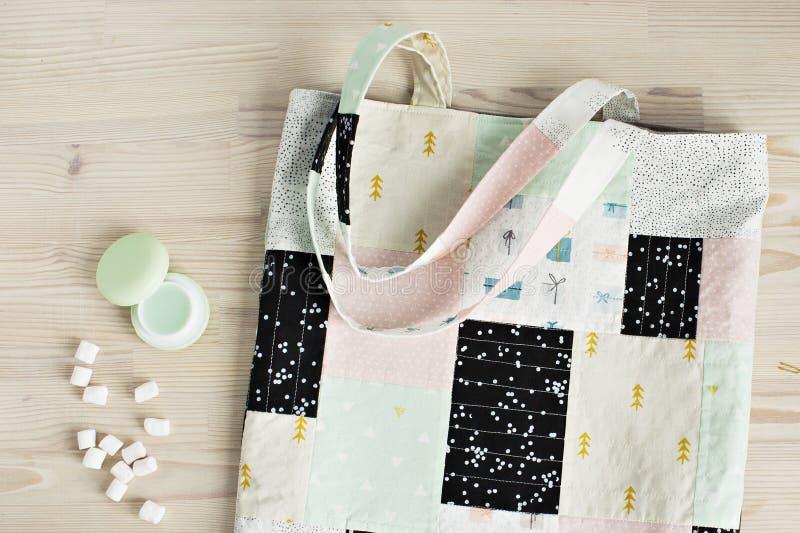 缝制的补缀品袋子 库存图片
