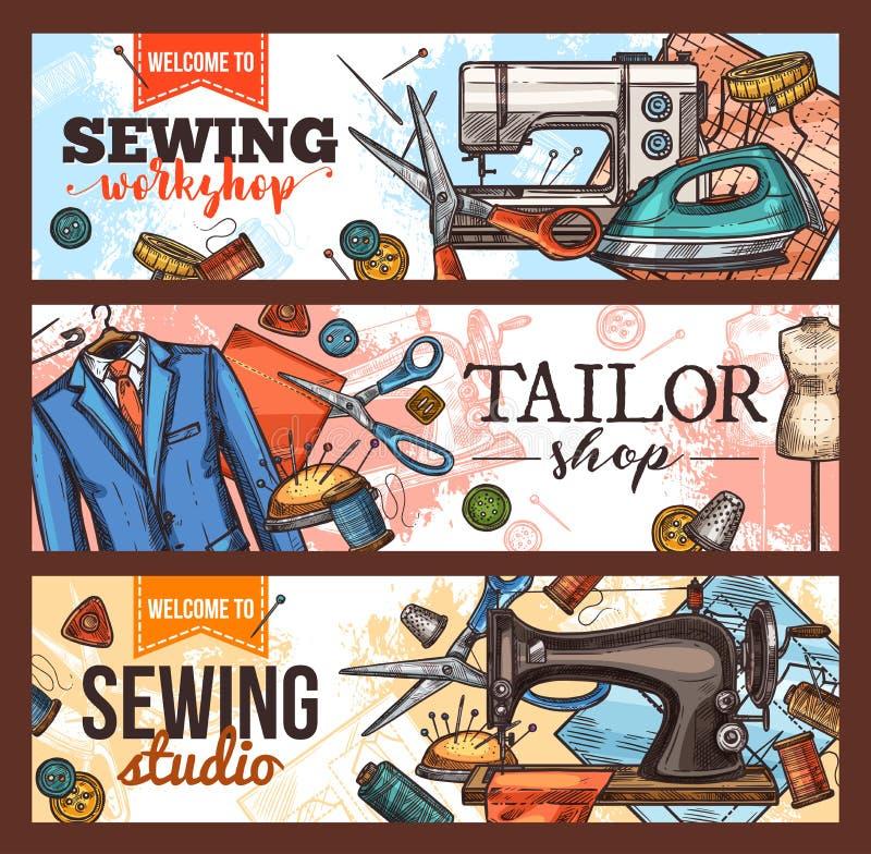 缝合和裁缝与工作室工具的商店横幅 皇族释放例证