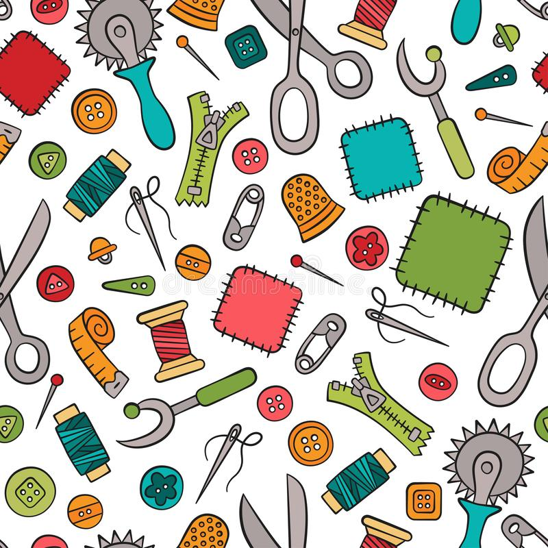 缝合和针线 工具和辅助部件 在乱画和动画片样式的无缝的样式 五颜六色 线性 库存例证