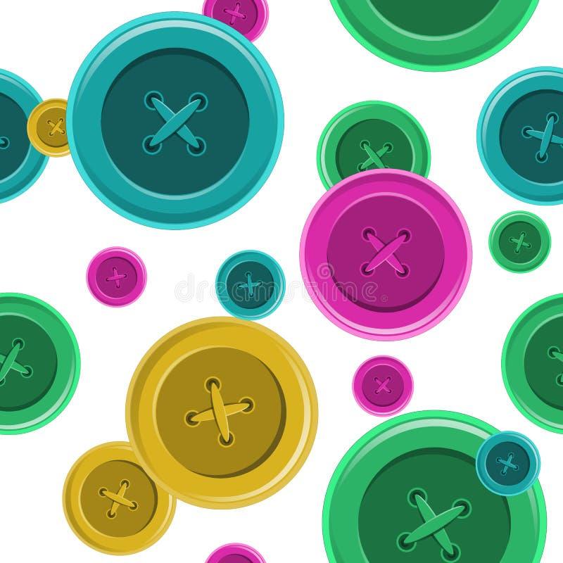 缝合无缝的样式,按钮衬衣衣物传染媒介il的按钮 皇族释放例证