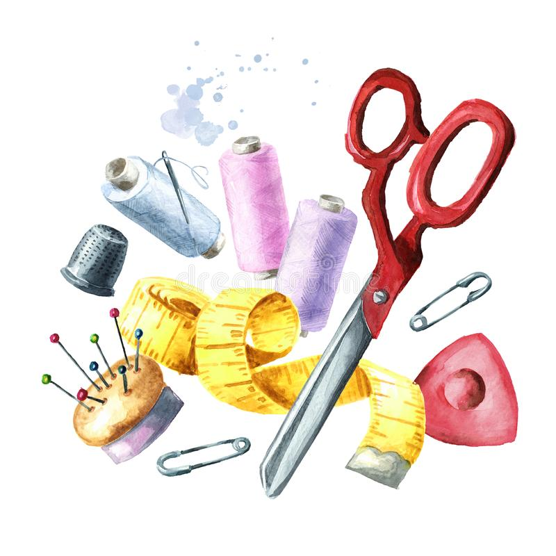 缝合的供应,螺纹,剪刀,测量的磁带短管轴  E 向量例证