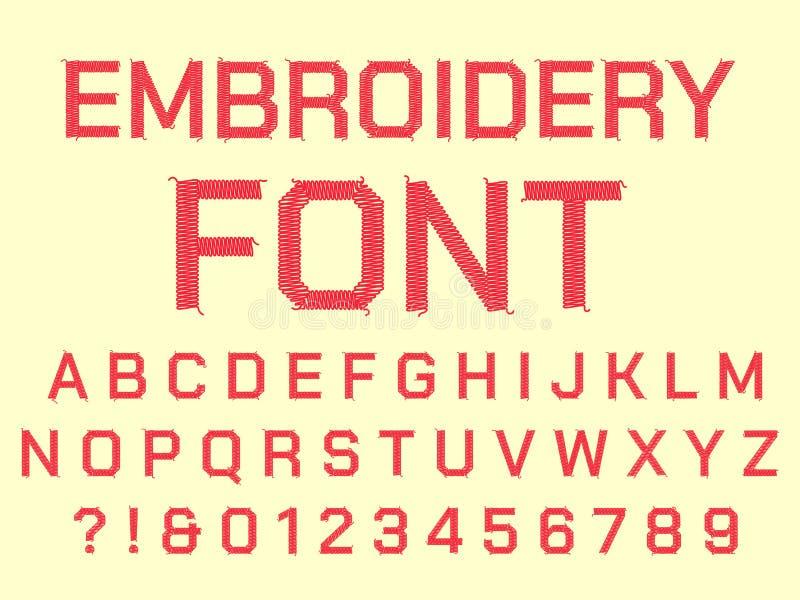 缝合的刺绣字母表 织品被绣的信件、葡萄酒纺织品字体和织品缝合螺纹信件传染媒介 库存例证