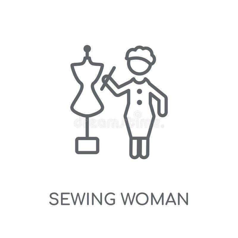 缝合的妇女线性象 现代概述缝合的妇女商标conce 皇族释放例证