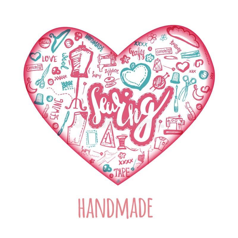 缝合的爱乱画在心脏形状的例证  与针,缝纫机,缝合的别针,毛线的Handicrafted商标 皇族释放例证