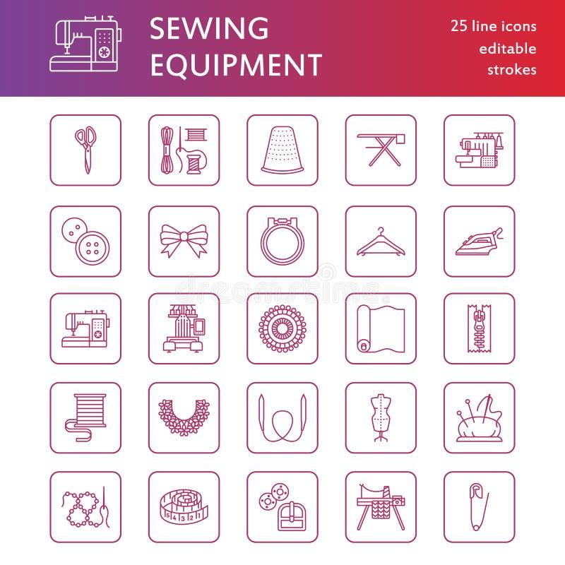 缝合的设备,裁缝供应平的线被设置的象 针线辅助部件-缝合的刺绣机器,别针,针 皇族释放例证