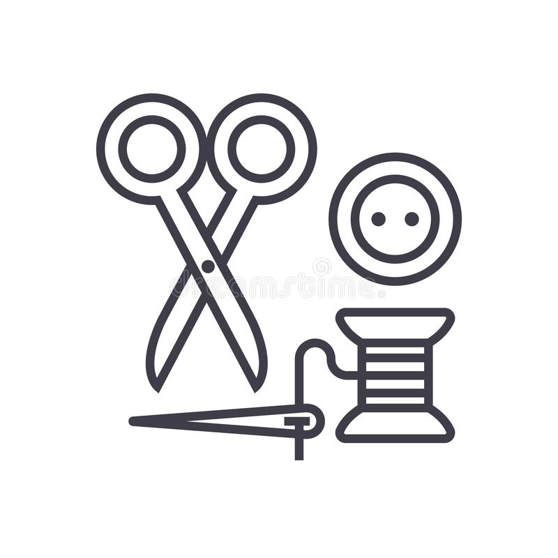 缝合,剪刀,螺纹,针,按钮传染媒介线象,标志,在背景,编辑可能的冲程的例证 向量例证
