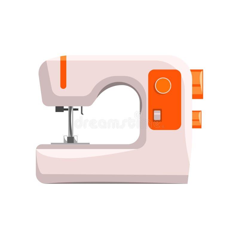 缝纫机,裁缝在白色背景的传染媒介例证的现代设备 向量例证