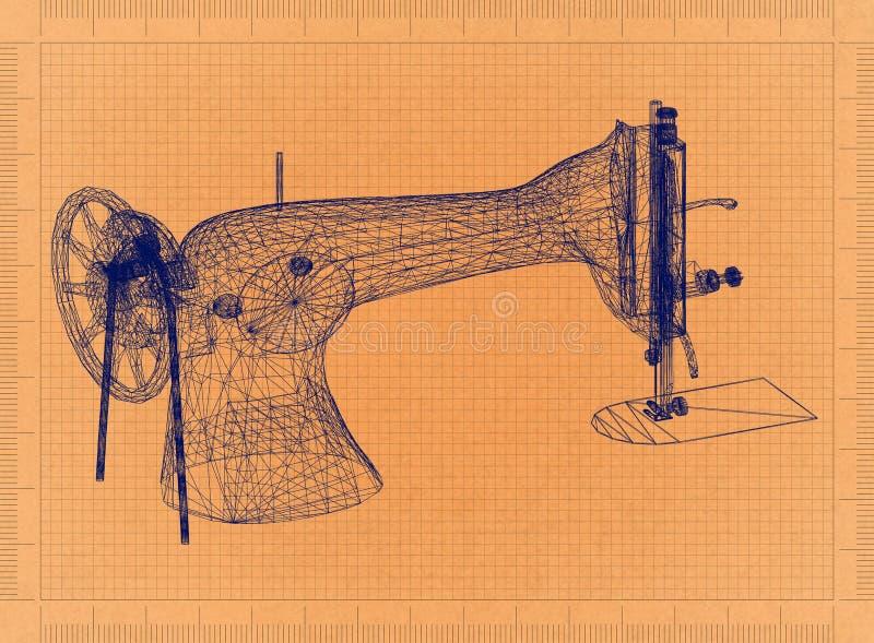缝纫机-减速火箭的图纸 向量例证