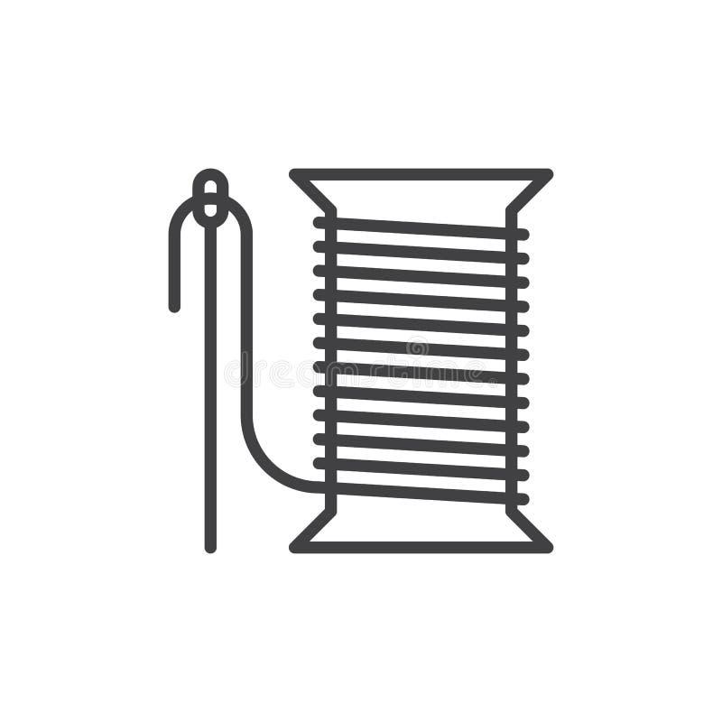 缝纫针和螺纹卷轴线象,概述传染媒介标志,在白色隔绝的线性样式图表 皇族释放例证