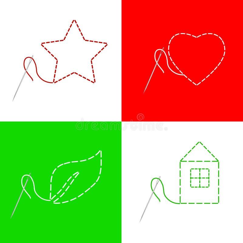 缝纫针穿线房子红色心脏星绿色叶子框架例证 向量例证