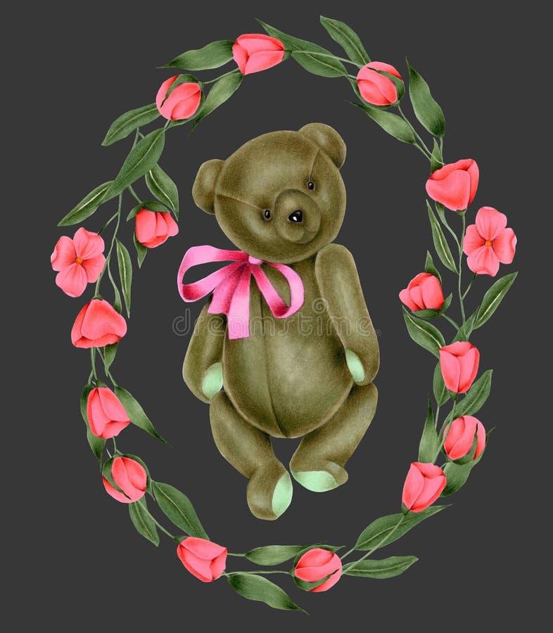 缠绕与手画软的长毛绒玩具玩具熊和桃红色花 皇族释放例证