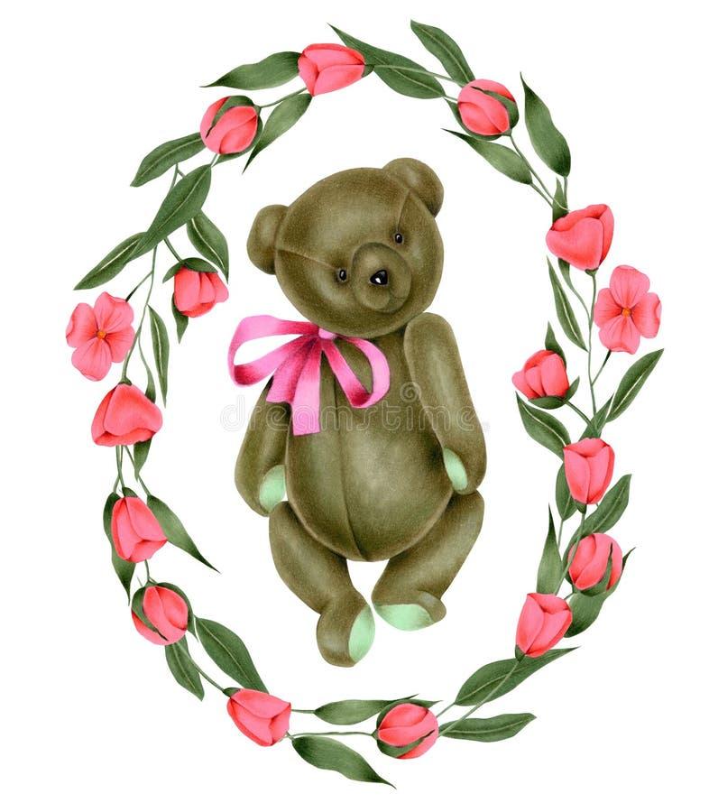 缠绕与手画软的长毛绒玩具玩具熊和桃红色花 库存例证