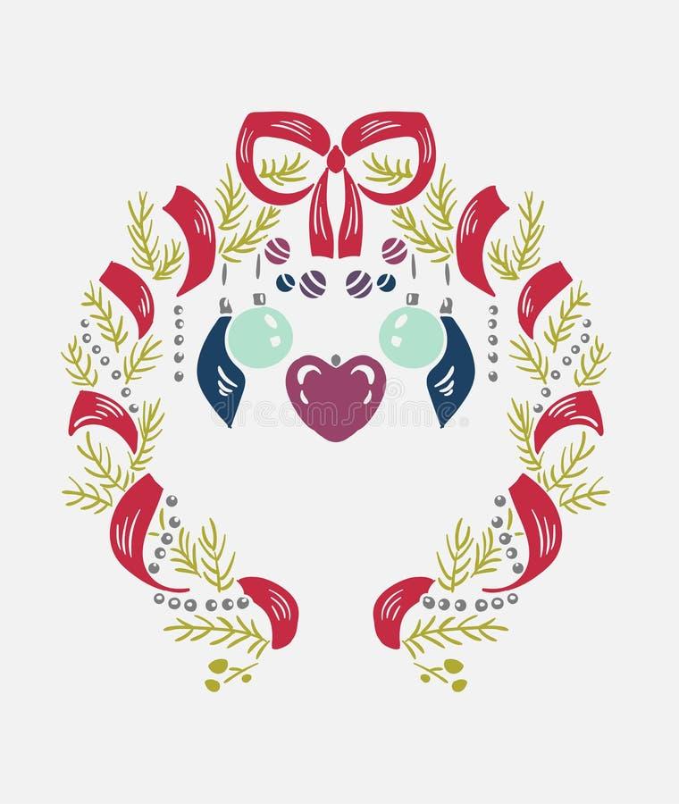 缠绕圣诞节传染媒介锦缎样式设计元素装饰卡片 向量例证