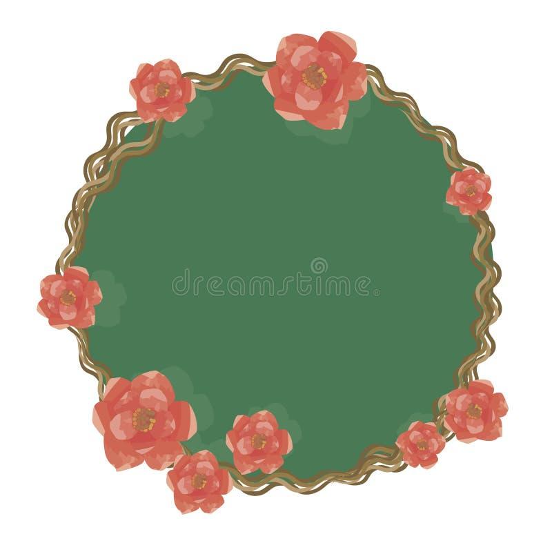 缠绕稀薄的扭转的分支吠声边界与玫瑰绿色不可思议的镜子玻璃小和大明亮的红色花的被隔绝的 皇族释放例证