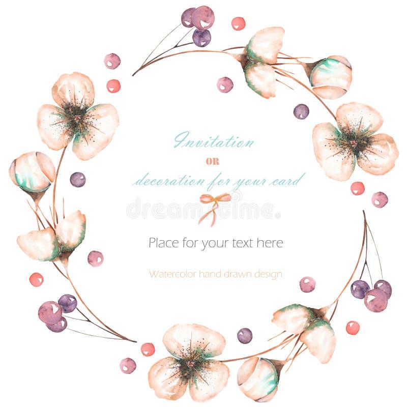 缠绕,与水彩桃红色摘要花和莓果的框架,婚姻的设计、贺卡或者邀请 皇族释放例证