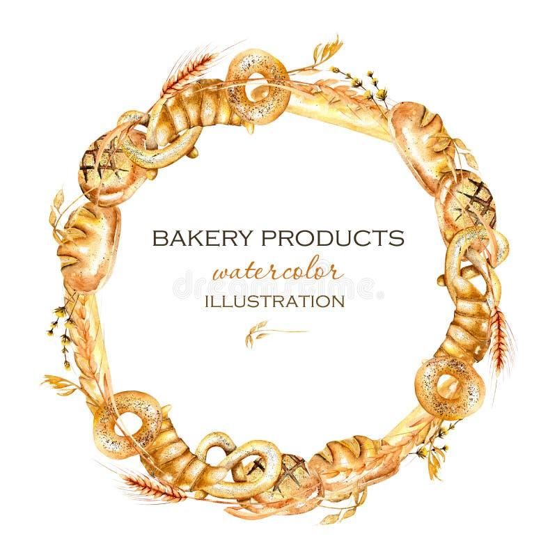 缠绕,圈子与面包店产品百吉卷,大面包,法国长方形宝石的框架边界 向量例证