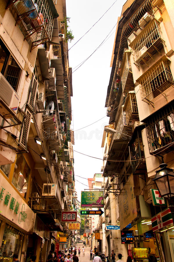 缩小的街道在澳门,中国 免版税库存图片