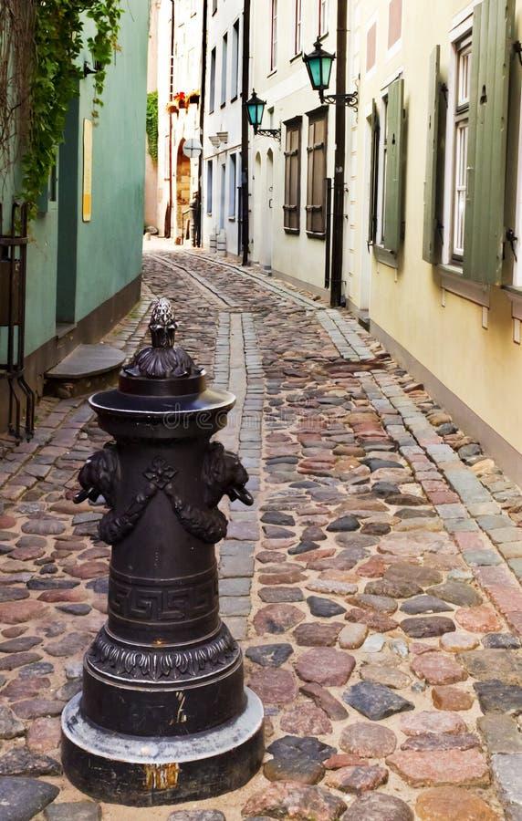 缩小的街道在老里加市 图库摄影