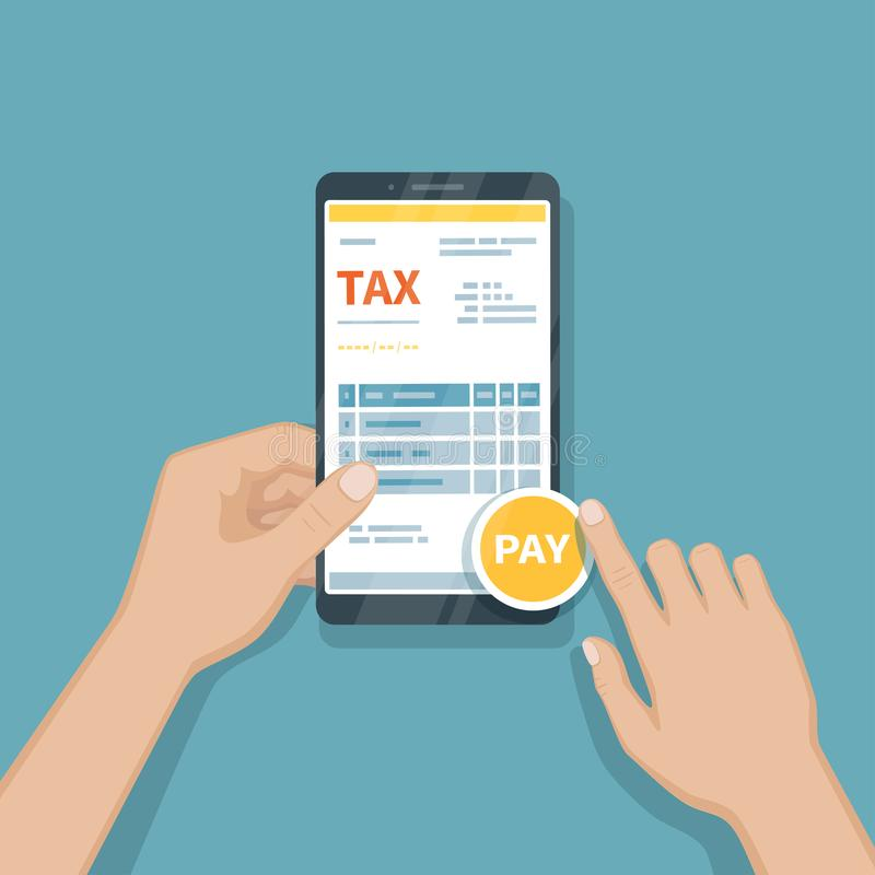 缴纳使用智能手机的税 网上薪水税,簿记,认为通过电话 供以人员拿着有报税表的一个手机 库存例证