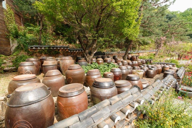 缸的平台调味汁和调味品 免版税库存照片