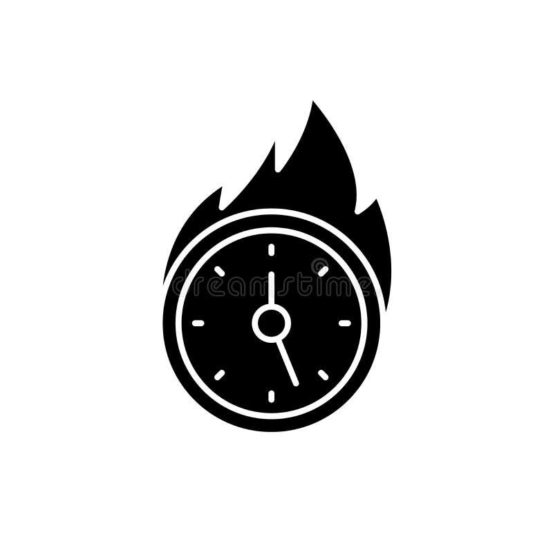 缺乏时间黑象,在被隔绝的背景的传染媒介标志 缺乏时间概念标志,例证 库存例证