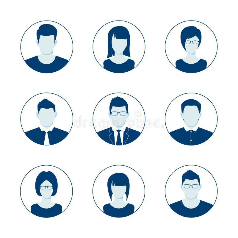 缺省具体化外形象集合 男人和妇女用户图象 匿名网民图片收藏 向量 皇族释放例证