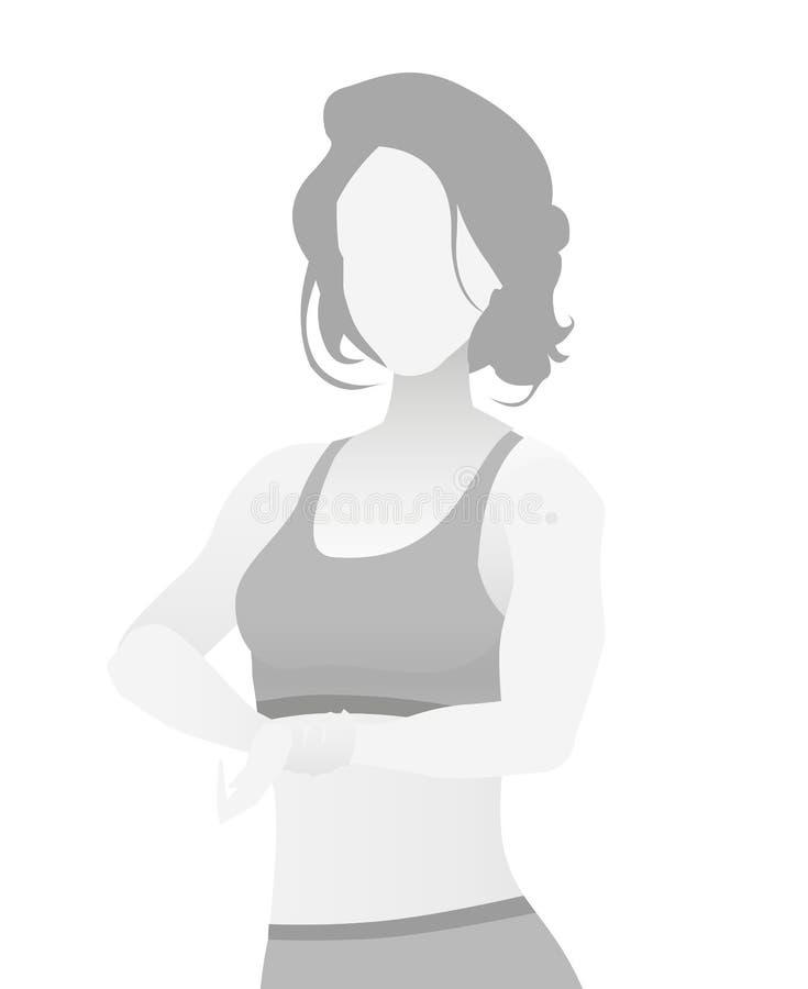 缺省占位符在T恤杉的健身教练员 库存例证