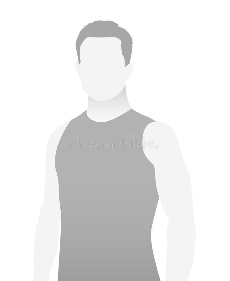 缺省占位符在T恤杉的健身教练员 向量例证