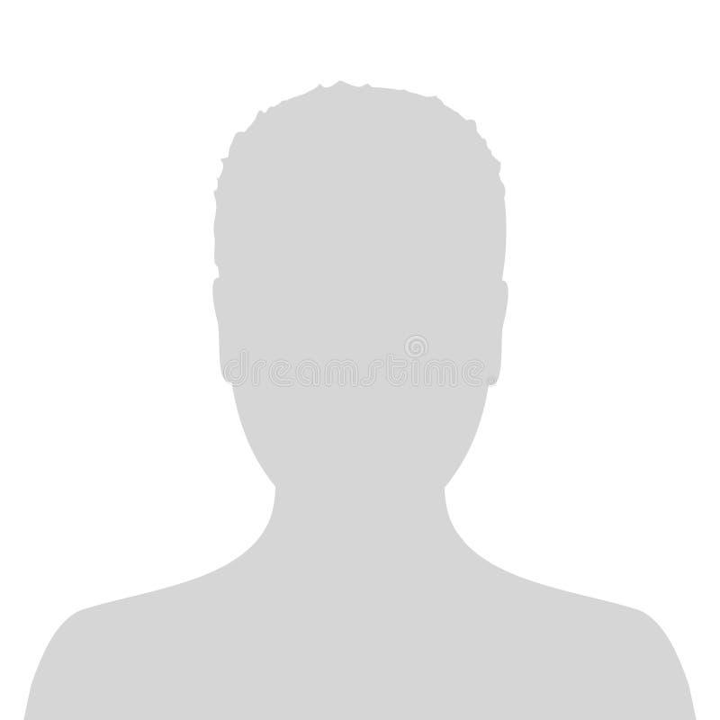 缺省男性具体化外形图片象 灰色人照片占位符 库存例证