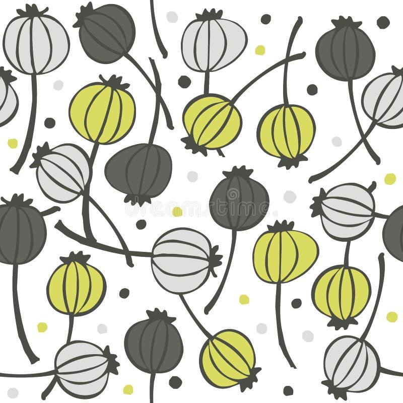 罂粟种子在白色的果子样式 库存例证