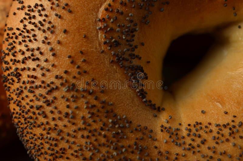 罂粟种子百吉卷的中心宏观特写镜头  免版税库存照片
