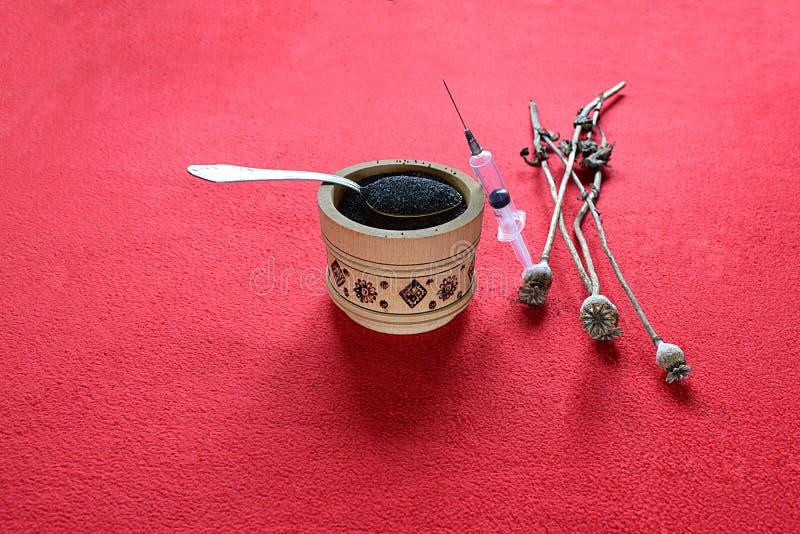 罂粟籽荚和一个一次性注射器 免版税库存照片