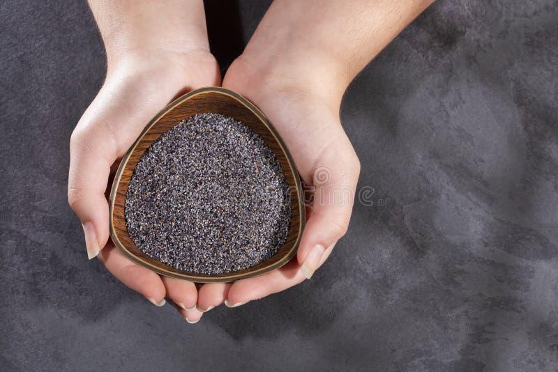 罂粟 — 女手拿罂粟籽碗 库存图片