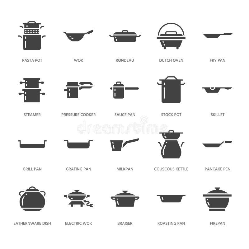 罐、平底锅和火轮纵的沟纹象 餐馆专业设备标志 厨房器物-铁锅,平底深锅, eathernware 库存例证