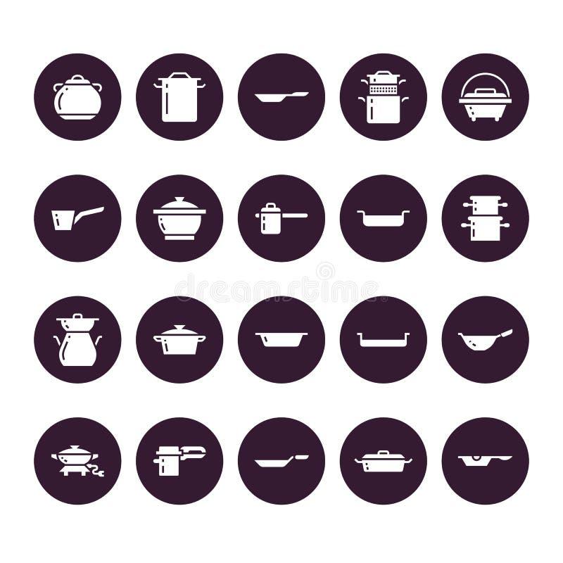 罐、平底锅和火轮纵的沟纹象 餐馆专业设备标志 厨房器物-铁锅,平底深锅, eathernware 皇族释放例证
