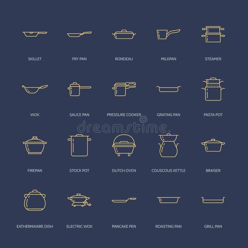 罐、平底锅和火轮线象 餐馆专业设备标志 厨房器物-铁锅,平底深锅, eathernware 皇族释放例证
