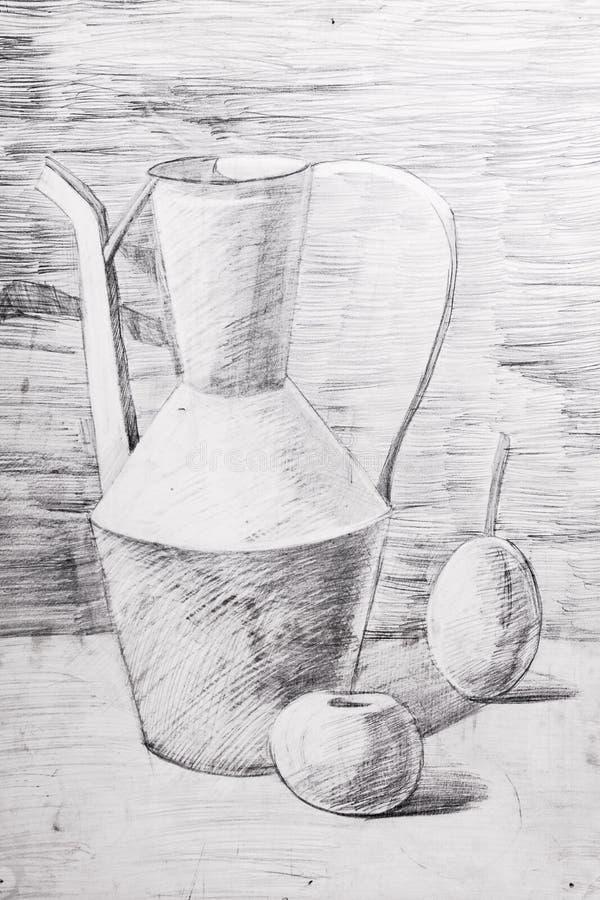 水罐、苹果和梨画与铅笔 库存照片