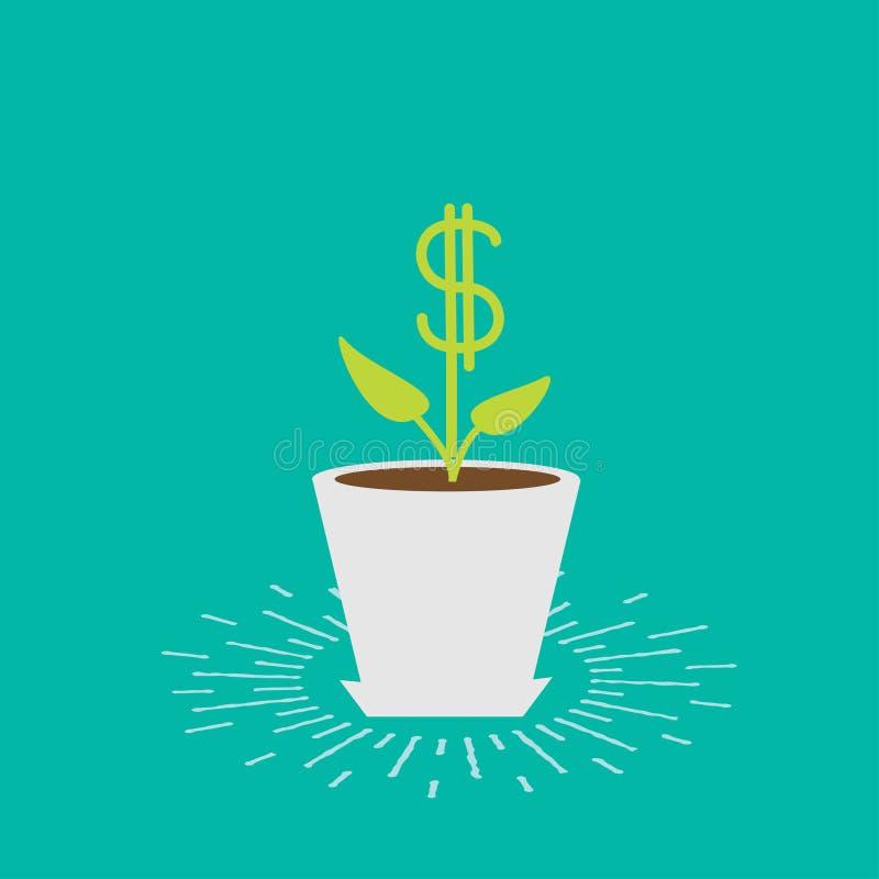 罐和喷壶的美元植物 光亮的作用 铸造在工厂白色的概念财务增长 平的设计 库存例证