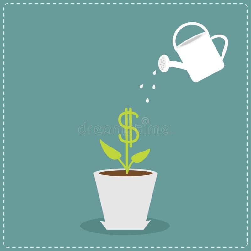 罐和喷壶的美元植物 向量例证