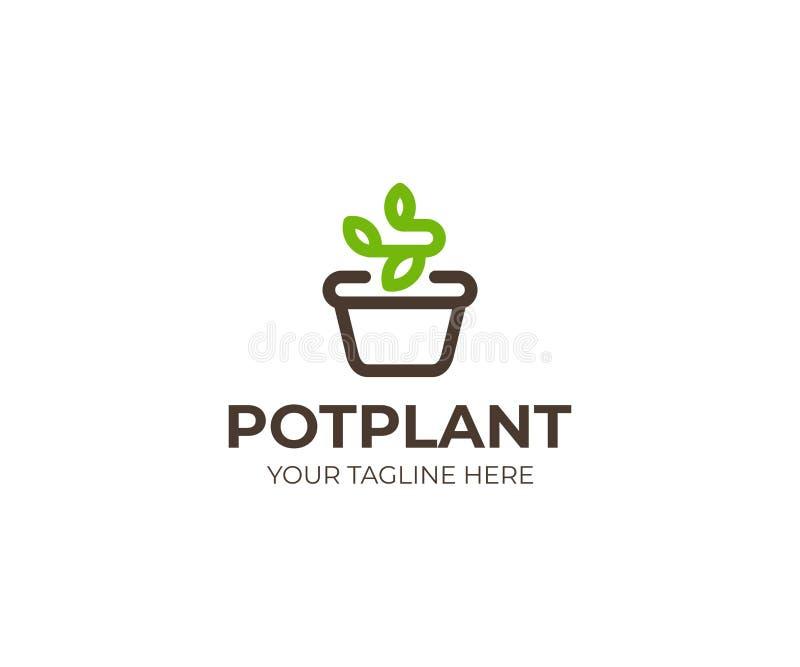 罐商标模板的植物 花盆和新芽传染媒介设计 皇族释放例证