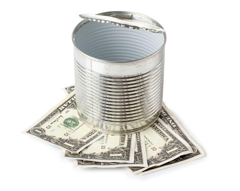 罐头和纸币 库存照片