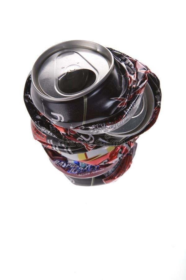 罐头被击碎的流行音乐 库存图片