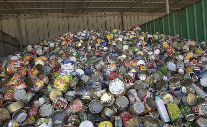 罐头金属的汇集  免版税库存照片